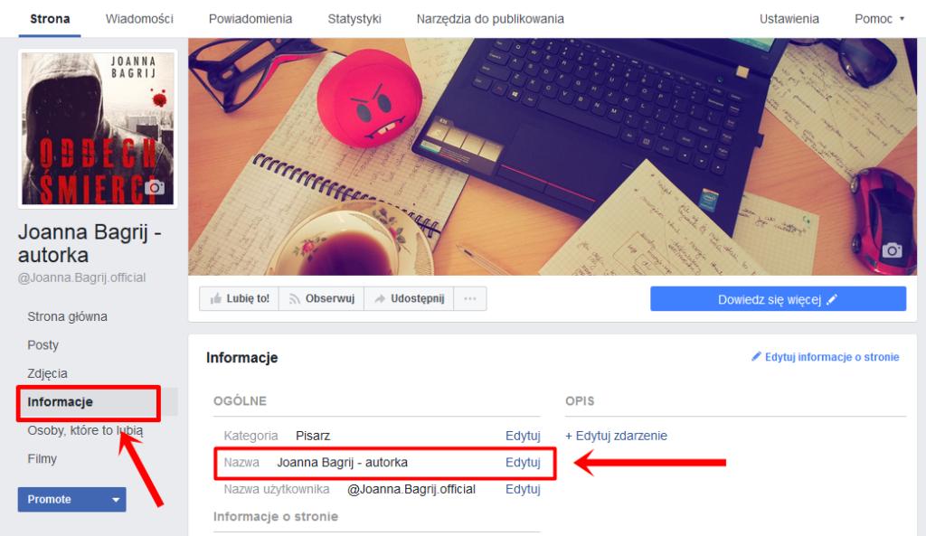 zmiana nazwy strony na Facebooku