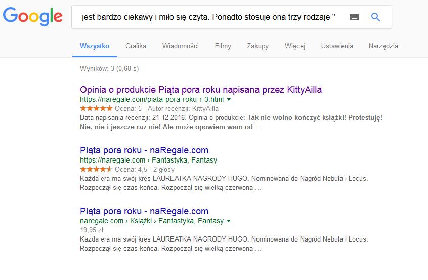 wyniki wyszukiwania duplicate content