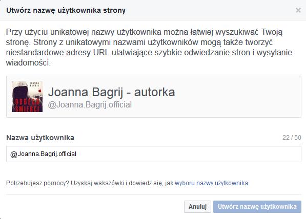 zmiana nazwy użytkownika FB