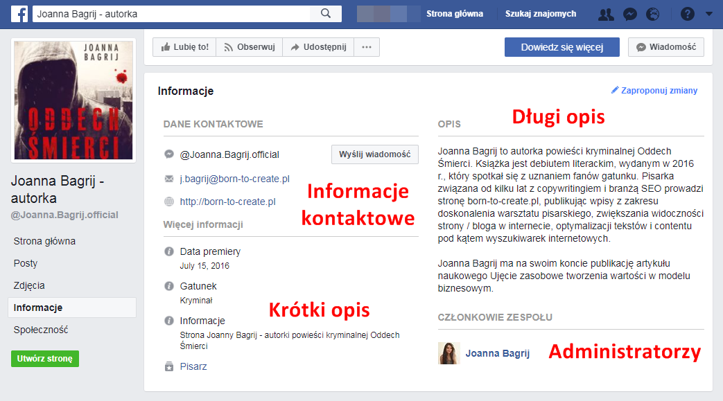 sekcja z informacjami Facebook