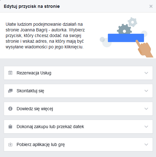 przycisk call to action Facebook
