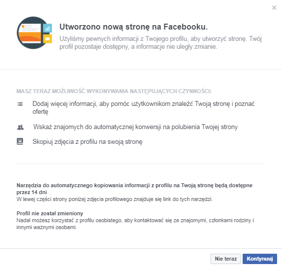 migracja fanych strona na FB