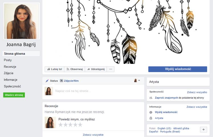 strona na Facebooku