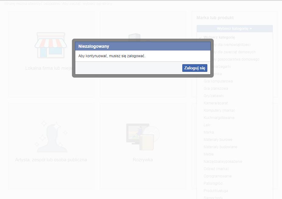 logowanie na konto na FB