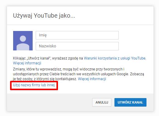 konto na YouTube tworzenie