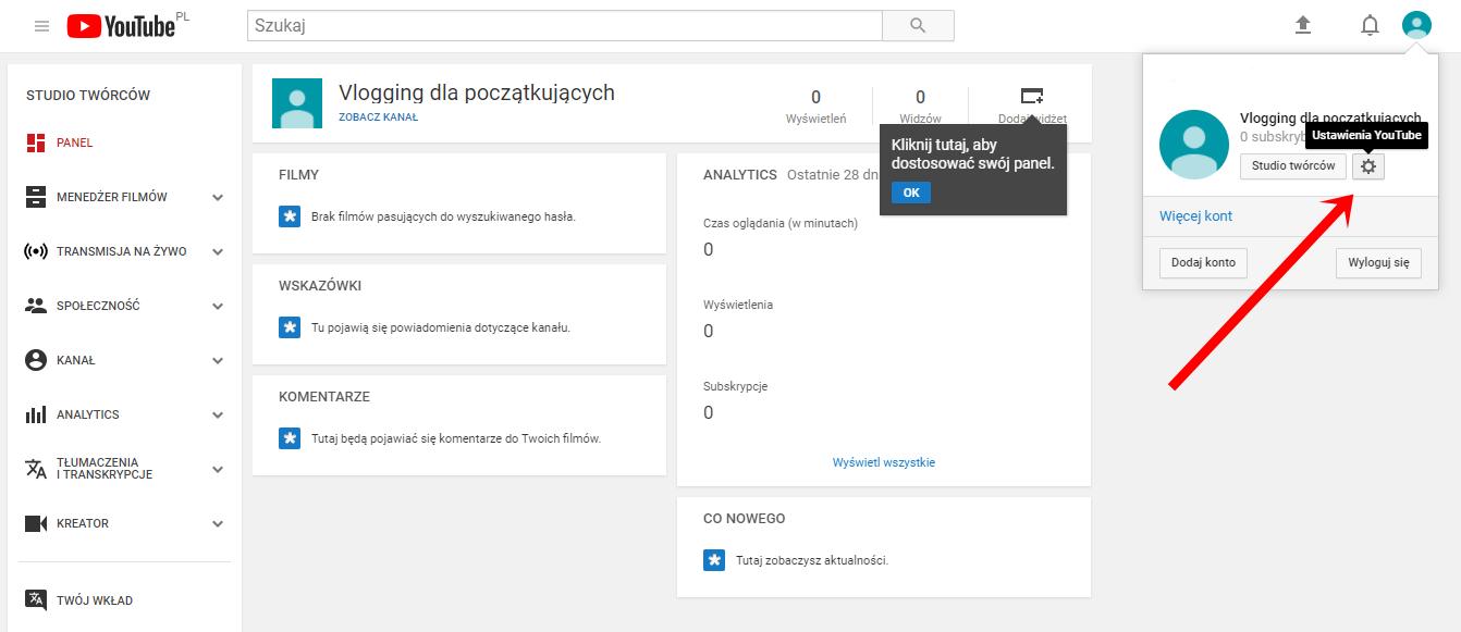 zakładamy kanał na YouTubie
