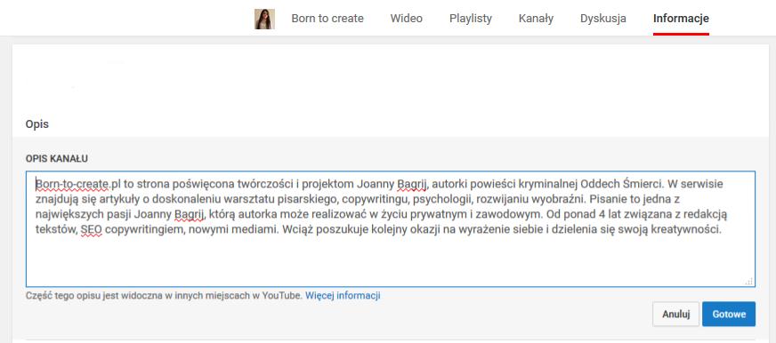 konto na YouTube optymalizacja