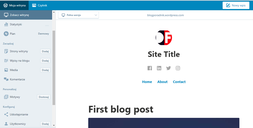 WordPress panel administracyjny