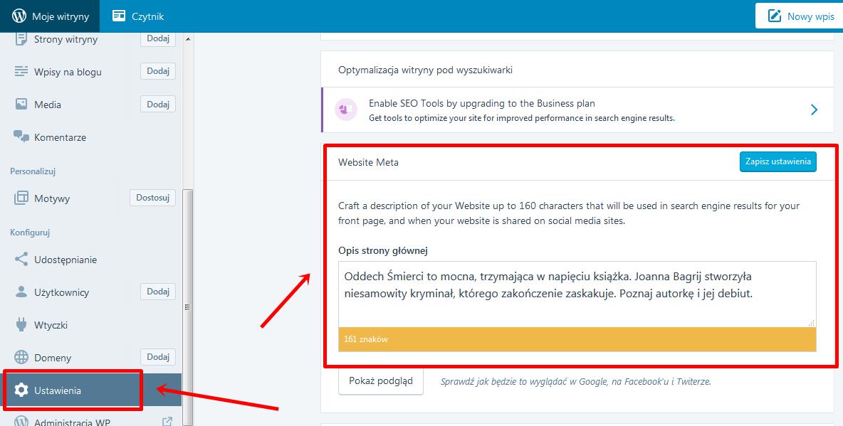 ustawianie description WordPress