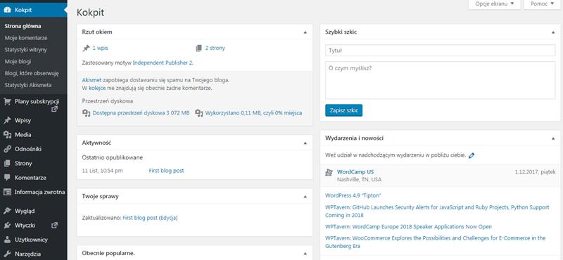 panel administracyjny WordPress