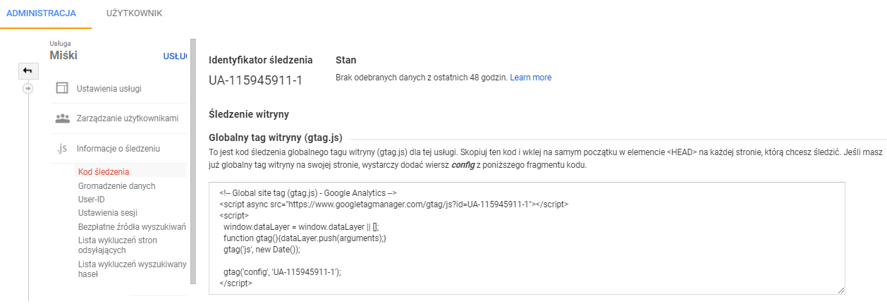 kod śledzenia Google Analytics