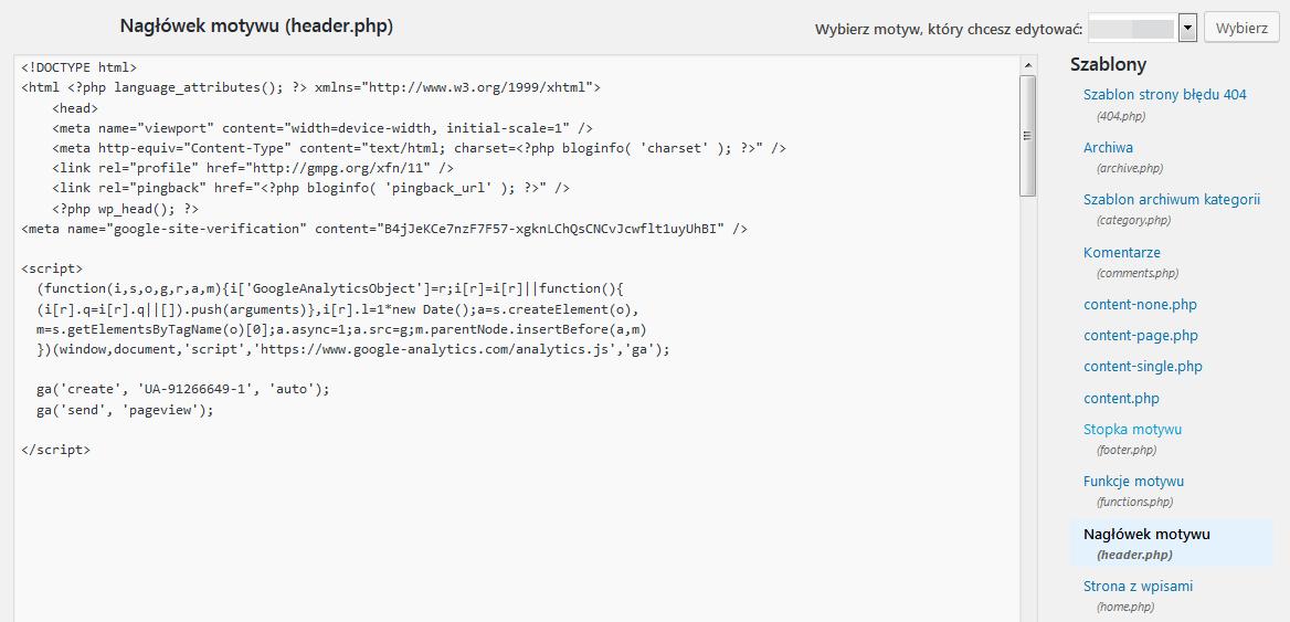 gdzie wkleić kod śledzenia WordPress - sekcja head w kodzie strony