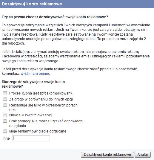 dezaktywacja konta facebook ads