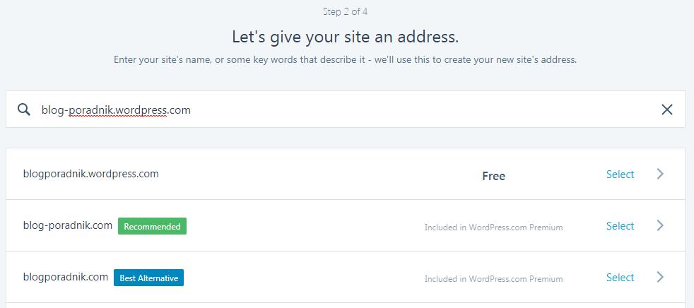 wybór domeny na WordPress