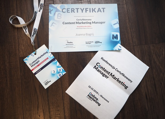 certyfikowany content marketing manager