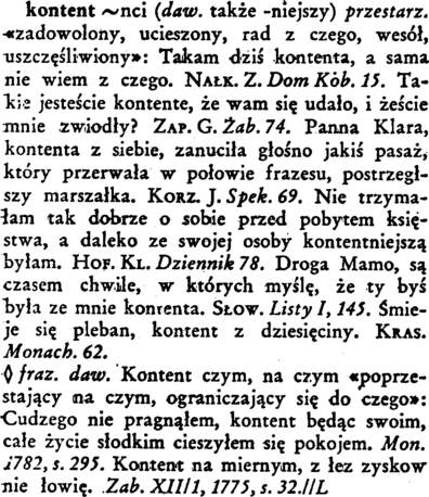kontent słownik